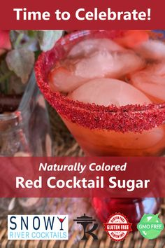Holiday Decorating with Red Cocktail Sugar! Red Cocktails, Christmas Cocktails, Holiday Drinks, Party Drinks, Summer Drinks, Cocktail Drinks, Fun Drinks, Cocktail Recipes, Beverages