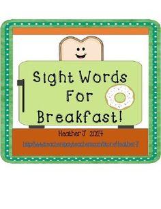 Sight Words For Breakfast FREEBIE