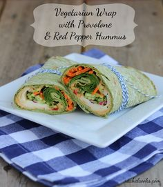 Vegetarian Wrap with Provolone and Roasted Red Pepper Hummus | RachelCooks.com