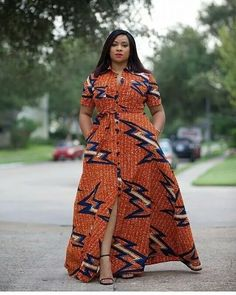 Orange African Print Dress/African Print Dress/African Clothing/African Fashion/African Maxi Dress/A African Maxi Dresses, Latest African Fashion Dresses, Ankara Dress, African Print Fashion, Africa Fashion, African Attire, African Wear, Ethnic Fashion, African Style