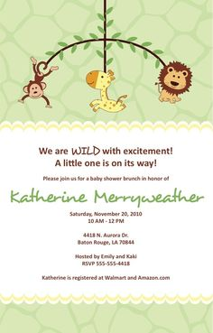 Gender Neutral Zoo Animal Baby Shower Invite