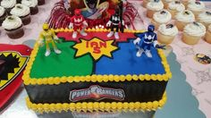 Power Rangers Cake 6th Birthday Parties, Birthday Bash, Birthday Ideas, Birthday Gifts, Power Ranger Cake, Power Ranger Party, Power Rangers Birthday Cake, Cakes Without Fondant, Cupcake Cakes