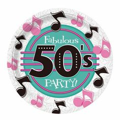 Fabulous Party Dinner Plates feature a diner feel with pink and black musical notes, and turquoise accents. Sold 8 per package. Fifties Party, Retro Party, Party Party, 1950s Party Decorations, 50s Theme Parties, Dance Parties, Grease Party, Grease Theme, Pochette Cd
