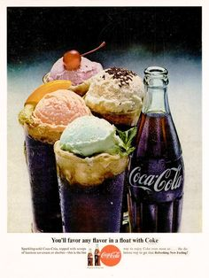 Coca-cola Floats, 1962 vintage ad. YUM...made these all the time growing up. Had a round ball you could put the ice cream in and it sat on the bottle top. You drank through the spout on the top. Oh joys.