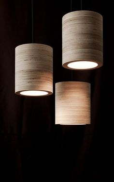 C-light. Cylindrical ceiling lamp made of plywood by minimalmood Lampe design Interior Lighting, Home Lighting, Modern Lighting, Lighting Design, Lighting Ideas, Lighting Stores, Pendant Lighting, Light Fittings, Light Fixtures