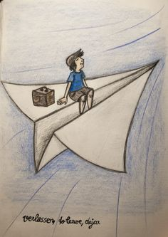 verlassen - to leave - dejar  (January 16) #illustration #flying #paperplane