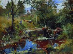 Landscape with bridge - Ivan Shishkin