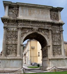 Arch of Trajan, Benevento (Italy) -- one of the most famous Roman honorary arch. It was erected in 114 CE at the beginning of the new Trajan Way and completed in 117 CE.