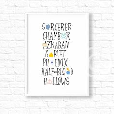 Harry Potter Book names poster, Harry Potter Prints, wall decor, baby, sorcerer, chamber, azkaban, room decor, jk rowling, wall art, ET192 by InstantGoodVibes on Etsy