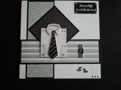 Voorbeeldkaart - Hartelijk Gefeliciteerd mannen.....zwart/wit/zilver - Categorie: Stickerkaarten - Hobbyjournaal uw hobby website
