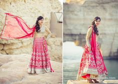 A Red Lehenga and Dupatta with Gold work teamed with a Gold Blouse by Anita Dongre at WeddingSutra on Location.