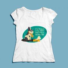 T-shirt I work hard | Een 100% katoen single jersey t-shirt verkrijgbaar met v-hals of ronde hals met een opdruk voor zowel dames als heren! In diverse maten verkrijgbaar.  #kleding #textieldruk #textielprint #opdruk #print #eigenprint #damesshirt #herenshirt #tshirt #shirt #tekst #text #hondje #hond #bot #werken #werk