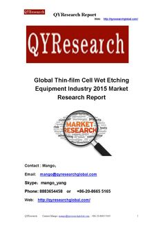 Global thin film cell wet etching equipment industry 2015 market research report