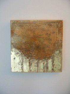 Resplandor de oro--capa, abstracto pintura sobre panel de madera con hoja de oro-vendido