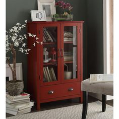 Organize your books, kitchen supplies, and more organized with the Urban Style Living Gracie Storage Bookcase . This wide bookcase has a relaxed. Kitchen Cupboard Storage, Wood Storage Cabinets, Bookcase Storage, Kitchen Organization, Wood Home Decor, Home Decor Bedroom, Diy Home Decor, Room Decor, Small Home Offices