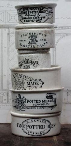 stack of pottery crocks