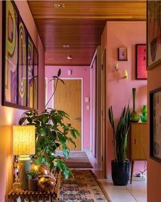 Love the pink walls. I have a pink-walled kitchen and bathroom. So warm! #pink #pinkwalls #decor