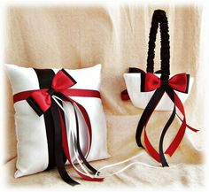 Items similar to Red and Black Wedding Flower Girl Basket Ring Bearer Pillow - Weddings Accessories Ceremony Decor - Ring Cushion and Basket Set on Etsy Black Red Wedding, Red And White Weddings, Purple Wedding, Trendy Wedding, Wedding Colors, Dream Wedding, Wedding Flowers, Wedding Rings, Bling Wedding