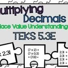 This product was designed for Texas 5th grade math classrooms. The product aligns to the NEW TEKS 5.3E Which requires students to multiply decimals...