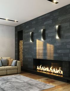 Cozy modern fireplace and cozy modern VINYL floors. Luxury vinyl tile is a great choice for rooms that have moisture or spaces that need durable flooring. Invincible Luxury Vinyl Tile available at Carpet One. I already have a fireplace like this. Living Room Tv, Living Room With Fireplace, Living Room Modern, Living Room Designs, Fireplace Wall, Fireplace Surrounds, Fireplace Design, Stone Fireplaces, Fireplace Ideas