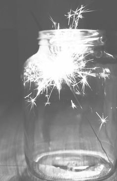 Sparkler in a mason jar. Magic!