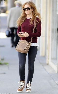 Chic: Isla Fisher sported a cool casual outfit in West Hollywood, which was jazzed up with Mexican-print trainers