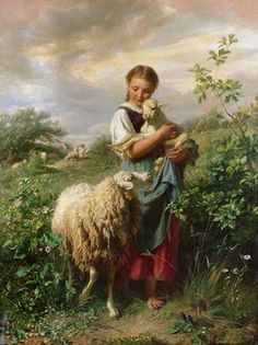 Johann Baptist Hofner The Shepherdess print for sale. Shop for Johann Baptist Hofner The Shepherdess painting and frame at discount price, ships in 24 hours. Cheap price prints end soon. Art And Illustration, Tableau Pop Art, Sheep Art, Sheep And Lamb, Baby Sheep, The Good Shepherd, Victorian Art, Fine Art, Beautiful Paintings