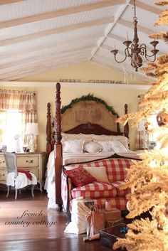 French Country Cottage from Courtney christmas bedroom