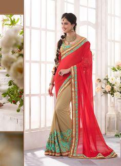 Beige Bulk Designer Saree Supplier From India