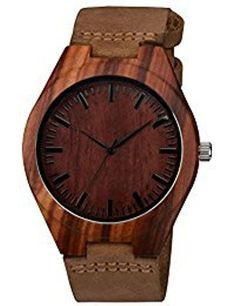 d09220ec4f85 Zeiger Bamboo Wooden Watch with Brown PU Leather Strap Quartz Analog Casual  Wood Watches (Wal Walnut)