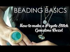 Beading Basics: How to make a Peyote Stitch Gemstone Bezel – Alonso Sobrino Gemstone Beads, Seed Beads, Gemstone Rings, Peyote Stitch, Stitch 2, Ring Tutorial, Beaded Rings, Brick Stitch, Bead Crochet