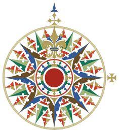 English: Replica of the main compass rose of the Cantino planisphere (1502) with Fleur de lis as its centre.  Français: Réplique de la principale rose des vents du planisphère de Cantino (1502).
