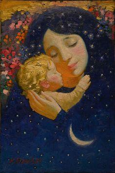 Victor Nizovtsev - Mother and Child Catholic Art, Religious Art, Victor Nizovtsev, Mother And Child Painting, Illustration Art, Illustrations, Mother Art, Madonna And Child, Blessed Mother