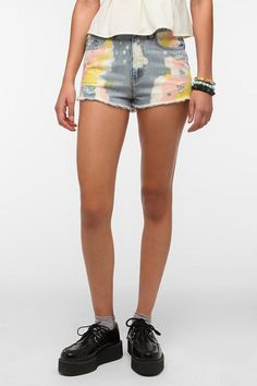 BDG Dree High-Rise Cutoff Denim Short - Acid Wash New Colors Available  urban outfitters