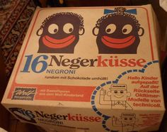 """Why the box is offensive is plain to see. Even more if one reads what's inside: """"Nigger kisses"""". Today those are called """"chocolate kisses"""" but if You grew up using the old term it's hard to switch."""