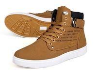 2014 Nuevo Zapatos de Hombre Moda Hombre Primavera otoño zapatos de cuero de los hombres casuales de la moda de la calle del top del alto zapatos de lona de las zapatillas de deporte