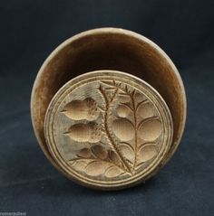 19c. Antique Natural ACORN Hand Carved Butter Print Stamp Mold Wood