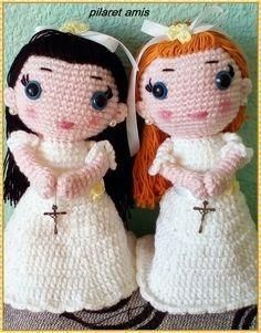 Muñeca de Comunión Amigurumi - Patrón Gratis en Español aquí: http://amigurumiscuquis.blogspot.com.es/2015/03/nina-de-comunion.html?m=1