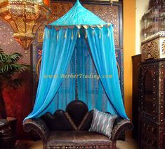 Imperial Fantasy Canopy – Blue - Bohemian Home Living Room Moroccan Fabric, Moroccan Theme, Moroccan Bedroom, Moroccan Style, Gypsy Decor, Bohemian Decor, Bohemian Patio, Moroccan Furniture, Boho Bedding