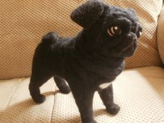Black Pug Dog Needle Felted OOaK Soft Sculpture by LaCharmour