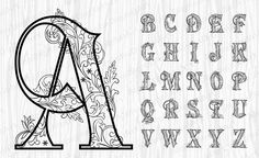 26 Black Ornate Alphabet, Gold Letters,Gold Numbers, Gold Sy… – Graffiti World Caligraphy Alphabet, Tattoo Fonts Alphabet, Tattoo Lettering Fonts, Hand Lettering Alphabet, Graffiti Lettering, Lettering Styles, Lettering Design, Typography, Chicano Lettering