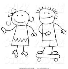 Vector Graphic of a Stick Figure Boy and Girl Skateboarding and ...