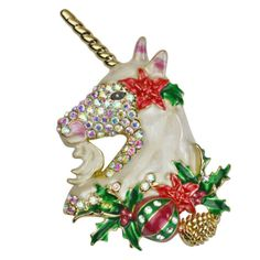 Kirks Folly Holiday Magic Unicorn Christmas Pin Pendant (Goldtone) | eBay Heart Locket Necklace, Moon Necklace, Holiday Jewelry, Fantasy Jewelry, Horns, Sparkle, Golden Horn, Christmas Ornaments, Crystals