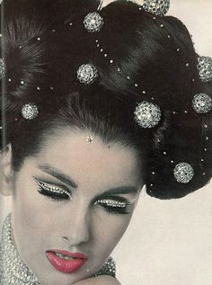 "Vintage sparkle!  Veronica Hamel as ""Winter"" for Vogue 1965 using crystals galore! Photo by Bert Stern."