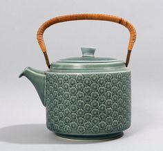 quistgaard coffee pot tea blue azure mid century danish bing grondahl kronjyden retro art pottery