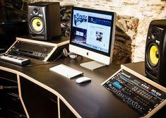 Studio Desk Music, Recording Studio Desk, Home Studio Desk, Music Desk, Studio Setup, Studio Ideas, Working Tables, Guitar Storage, Pembrokeshire Wales