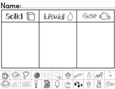 Matter ~ Solids, Liquids, & Gases Sorting Worksheet