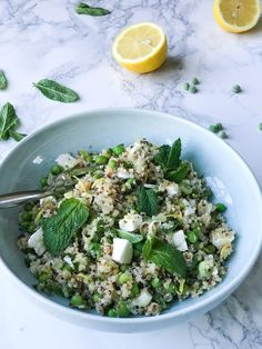 FETA PEA MINT AND LEMON QUINOA. A delicious light salad perfect for a quick lunch or to batch cook to keep you going throughout the week. Vegetarian Salad Recipes, Veggie Recipes, Cooking Recipes, Healthy Recipes, Quiche Recipes, Veggie Food, Cooking Tips, Mint Salad, Quinoa Salad