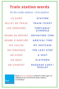Stock up on your French vocabulary with useful words and phrases related to trains and train stations. Ideal when you're travelling to a French-speaking destination. downoad the list in PDF format for free! French Language Lessons, French Language Learning, French Lessons, French Travel Phrases, Common French Phrases, French Expressions, French Teaching Resources, Teaching French, French Conversation