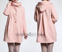 Rosa cape Cape Lana Cashmere abrigo abrigo de invierno capa capucha sudadera encapuchada de cape Cape dy32 S, M, L, XL